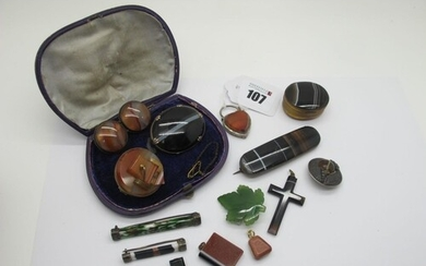 Victorian Banded Agate Brooches, together with an oval bande...