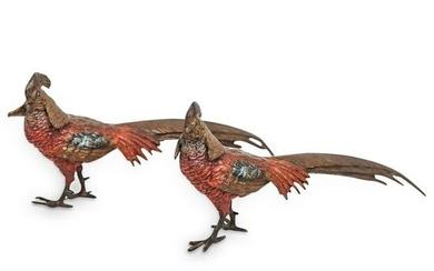 Viennese Bronze Cold Painted Pheasants