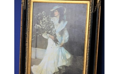 Vintage Large Print of 'Spring' by Sir John Lavery in an Orn...