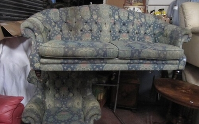 Vintage Two Seater Button Back Settee with Arm Chair.