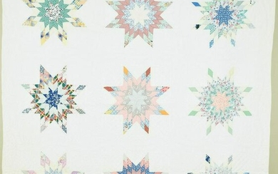 Well Quilted 30's Pieced Stars Quilt