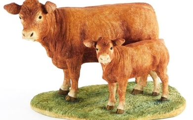 A Border Fine Arts figure group of Limousin cow...