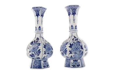 A COLLECTION OF FOUR DUTCH DELFTWARE BLUE & WHITE VASES