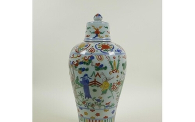 A Chinese wucai porcelain meiping vase and cover decorated w...