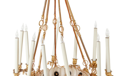 A Continental Gilt Metal and Jeweled Opaline Glass Twelve-Light Chandelier