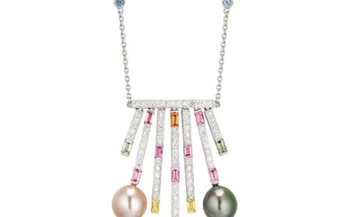 A Cultured Pearl, Coloured Sapphire and Diamond Pendant Necklace