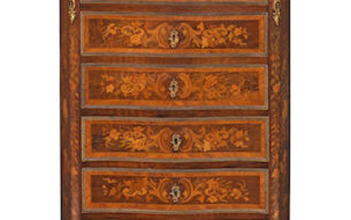 A French 19th century gilt bronze mounted walnut, tulipwood and fruitwood marquetry secretaire semainier