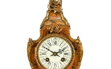 A French Painted and Gilt Metal Mounted Striking Mantel Clock,...