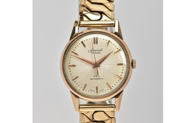 A GENTS 9CT GOLD 'ACCURIST' WRISTWATCH, hand wound movement,...