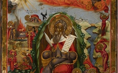 A MONUMENTAL ICON SHOWING THE PROPHET ELIJAH, HIS LIFE
