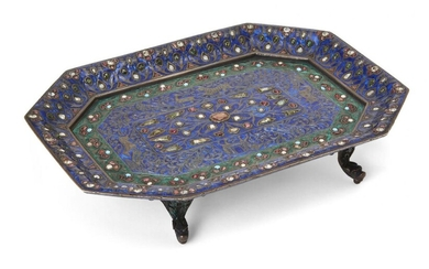 A Mughal gem-set and enamelled tray, India, 18th century, of canted rectangular form, the tray set with table-cut diamonds, white sapphires, seed pearls, turquoise and cabochon rubies, on a blue and green enamel ground, with embossed forms of flora...