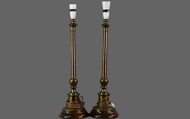 A PAIR OF BRASS CANDLESTICK TABLE LAMPS