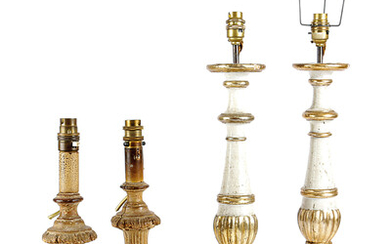 A PAIR OF ITALIAN GILTWOOD AND PAINTED ALTAR CANDLESTICK LAMPS