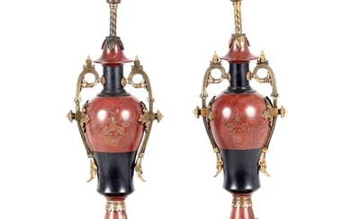 A PAIR OF LATE 19TH CENTURY FRENCH URN SHAPED ORMOLU MOUNTED...