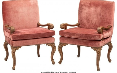 A Pair of English George III-Style Partial Gilt