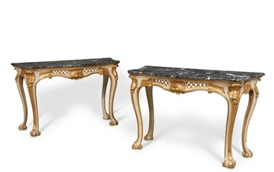 A Pair of Neapolitan Rococo White Painted Parcel Gilt Console Tables with Levanto Marble Tops, Circa 1750