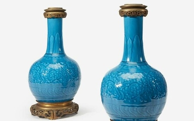 A Pair of Ormolu-Mounted Theodore Deck Faience 'Persian