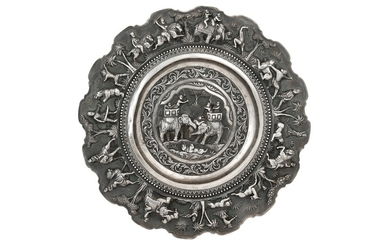 A SILVER REPOUSSÉ CEREMONIAL DISH Lucknow, Awadh, Northern India, ca. 1880 - 1890