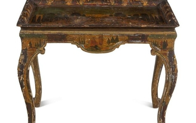 A Venetian Painted and Parcel Gilt Low Table