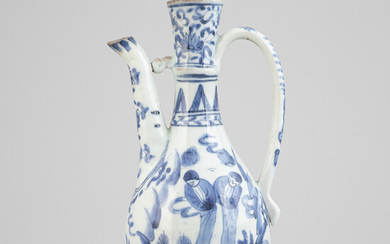 A blue and white porcelain ewer, possibly Chinese, 17th century.