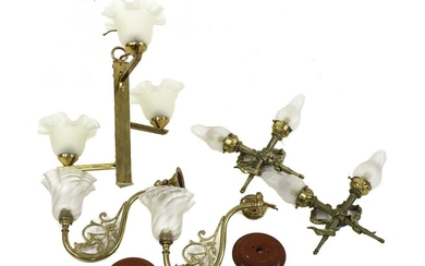 A collection of brass lighting