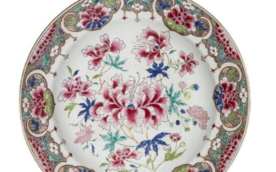 A large Chinese porcelain 'lotus' dish, 18th century, painted in...