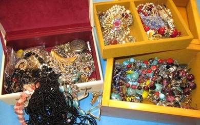 A large quantity of vintage costume jewellery in boxes, in v...