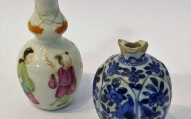 A late 17th century Chinese blue and white snuff bottle of o...
