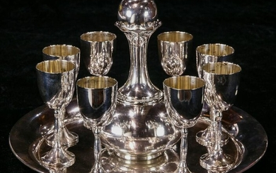 A (lot of 10) Mexican sterling cordial set, Juvento
