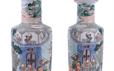 A pair of Chinese Famille Verte rouleau vases