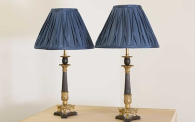 A pair of French Empire-style patinated and gilt-bronze candlestick lamps