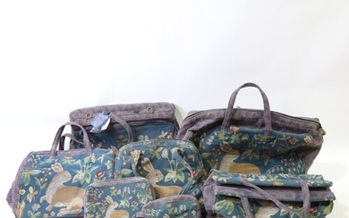 A set of French tapestry design luggage made exclusively for...