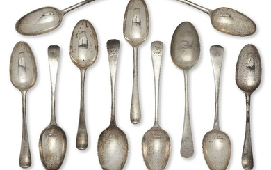 A set of four 18th century tablespoons, London, David Willaume (date marks rubbed), of old pattern design with drawbridge armorials to reverse of terminals, together with two matched 18th century Georgian tablespoons by a different maker, possibly...