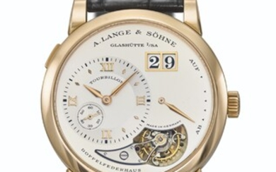 A.LANGE & SÖHNE. A VERY RARE 18K PINK GOLD LIMITED EDITION TOURBILLON WRISTWATCH WITH POWER RESERVE AND DATE