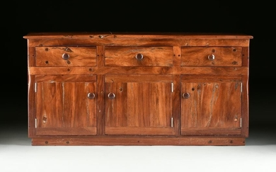 AN AFRICAN RECLAIMED BUBINGA WOOD CREDENZA, LATE 20TH