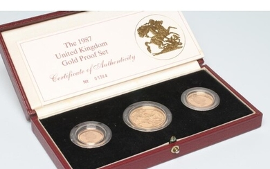 AN ELIZABETH II GOLD PROOF THREE COIN SET, 1987, comprising ...