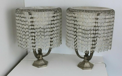 Art deco Table lamps Alabaster shade and Frosted glass