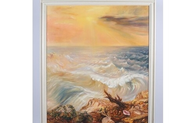 CONTINENTAL SCHOOL SEASCAPE Oil on canvas indistinctly signe...