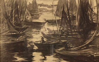 """Charles Henri FROMUTH (1866-1937) """"The boats"""" charcoal sbg 32x45"""