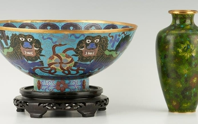 Chinese Cloisonne Punch Bowl & Vase, 2 items