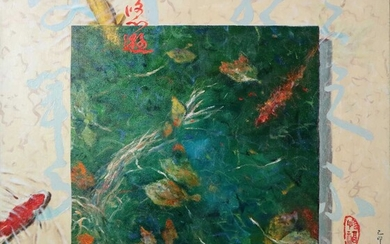 Chinese School (20th Century) Pair of paintings of a Koi pond with Autumn Leaves