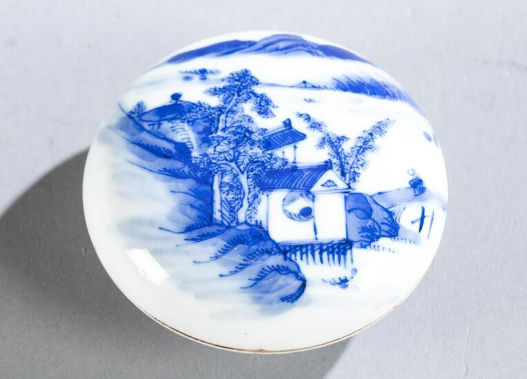Chinese blue and white porcelain ink box, 19th c.