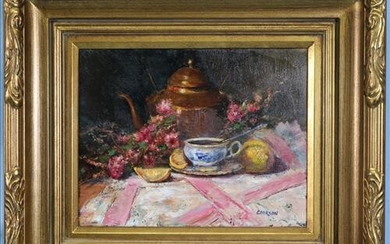 Contemporary oil on canvas of still life