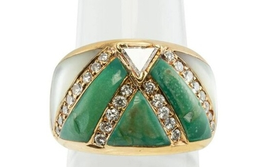 Diamond Turquoise Ring Mother of Pearl 18K Gold Vintage