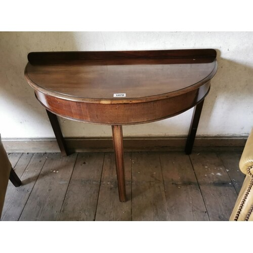 Edwardian mahogany d-end side table on square reeded legs in...
