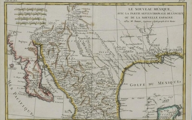 FRAMED FRENCH BONNE( 1727-1795) MAP, MEXICO