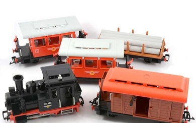 G scale Playmobil electric train set, locomotive, wagons and track.