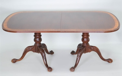 GEORGE III STYLE INLAID MAHOGANY PEDESTAL DINING TABLE, INCLUDING TWO LEAVES, BY ETHAN ALLEN