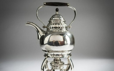 Georg Jensen, Hot water kettle on a stove, c. 1915