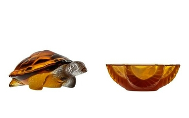 Lalique Glass Crystal Sea Turtle and Trinket Dish